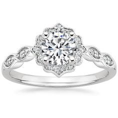 18K White Gold Cadenza Halo Diamond Matched Set (1/3 ct. tw.), top view