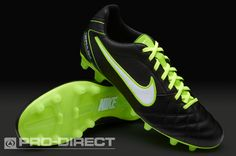 55ce4bc955f9 Nike Football Boots - Nike Tiempo Flight FG - Firm Ground - Soccer Cleats -  Black-White-Electric Green