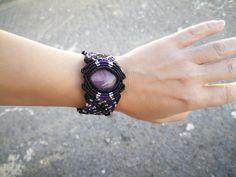 Amethyst Macrame Bracelet   Etsy Beach Bracelets, Tassel Bracelet, Shell Bracelet, Unique Bracelets, Macrame Bracelets, Stone Bracelet, Turquoise Cuff, Amethyst Stone, Summer Jewelry