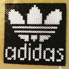 Adidas logo perler beads by zhikorina Pixel Art, Plastic Bead Crafts, Beading Patterns, Knitting Patterns, Beaded Animals, Perler Patterns, Pearler Beads, Knitting Socks, Cross Stitch