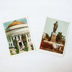 Set of two blank vintage colorful postcards with Kyiv city views, 1950s