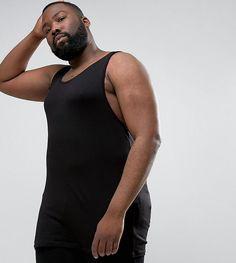 ASOS PLUS Longline Muscle Tank In Olive - Black