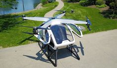 FAA grants Workhorse permission to test hybrid helicopter during CES in Las Vegas next week. SureFly, the world's first electric hybrid helicopter, features a drone-like octocopter design, a two-person, payload capacity and a range of about 70 miles. Latest Drone, New Drone, Drone Diy, Flying Car Drone, Personal Helicopter, Pilot, Drone For Sale, Drone Technology, Aircraft Design
