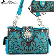 Click Here and Buy it on Amazon.com Price:$57.99 Montana West Western Unique Floral Embroidered Rhinestone Gemstone Round Rivet Studded Turn Over Top Detailed Side Pocket Tote Satchel Shoulder Handbag Purse with Wallet