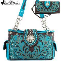 Montana West Embroidery Western Rhinestone Bling Handbag with Wallet Set e6292901b699b