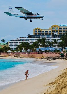 Maho Beach, St. Maarten - Located at the end of the airport's runway, this beach is the only place to get this close to landing aircraft. For aviation enthusiasts, it's a great place to spend an afternoon!