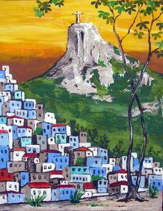 The Blue Favela Rio de Janeiro Brazil Corcovado by ArtCalifornia Favelas Brazil, Canvas Wall Art, Wall Art Prints, Brazil Art, Arte Alien, Original Paintings, Original Art, Arte Pop, Mixed Media Painting