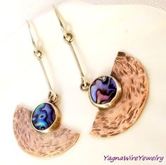 Metalwork Earrings Mixed Metal Earrings Silver by YagnaWireJewelry