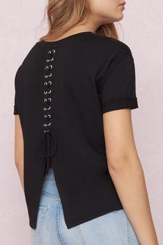Boyfriend Tee With Lace-Up Back