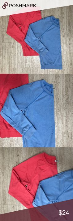 Bundle of 2 Old Navy crew neck sweatshirts Bundle of two Old Navy crew neck relaxed fit sweatshirt tops. Banded trim at hem, cuff and neck. Gently used condition, no flaws. Comes from a smoke-free pet-free home. Coral pink color and Carolina blue color. Make an offer! Old Navy Tops Sweatshirts & Hoodies