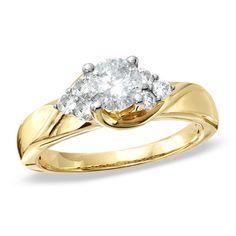 1 CT. T.W. Diamond Tri-Side Swirl Ring in 14K Gold