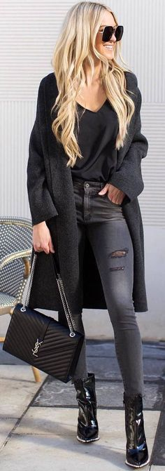 #Winter #Outfits black top, cardigan, grey jeans, black boots