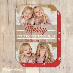 Rustic Wood Chevron Holiday Christmas Photo Card by casalastudio