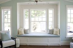 white built in window seat love adore the undressed windows, the Bay Window Bench Seat Cushion Latest Bay Window Bench Seat Cushion Ideas Decor, House, Home Themes, Home, Window Seat Cushions, Window Bench Seat, Interior Design, Bay Window Seat, Window Seat
