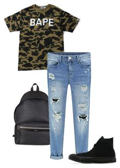 """"" by alexiseaster on Polyvore featuring A BATHING APE, Yves Saint Laurent and Converse"