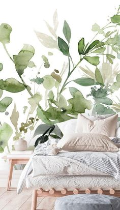 Sage green decor is a huge trend right now! Check out this beautiful floral wallpaper from Wallsauce. Teamed with a boho style bed with layers of pillows, this bedroom look will last you for years to come. Discover this and more bedroom ideas at Wallsauce... Bedroom Wallpaper, Bed Styling, Beautiful Bedrooms, Boho Style, Wall Murals, Sage, Bedroom Ideas, Layers, Pillows