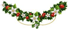 Transparent Christmas Mistletoe Garland with Flowers PNG Clipart