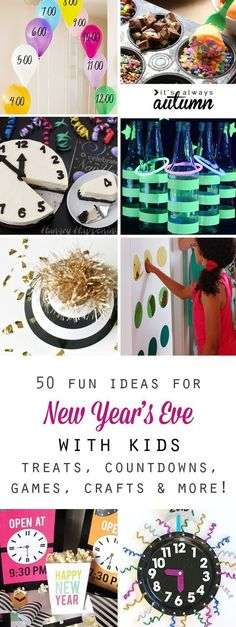 Fun things to do on New Year's Eve with kids! New Year's Eve countdowns, games, crafts, food New Years With Kids, Family New Years Eve, New Years Eve Games, New Years Eve Day, New Years Eve Food, New Years Party, New Years Eve Party Ideas For Family, New Years Eve Toddler, Party Ideas For Teen Girls