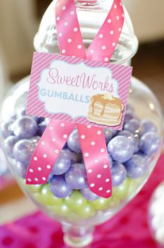 Glass candy jars at a Mother's Day Party! See more party ideas at CatchMyParty!