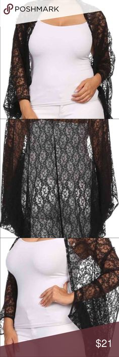 Plus Size Floral Sheer Lace Shrug Black Floral Sheer Lace Kimono Cardigan open front, hi-lo   Content: 100%POLYESTER   Made In: USA Jackets & Coats Vests
