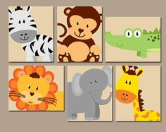 Jungle ANIMALS Wall Art CANVAS or Prints Safari Theme by TRMdesign