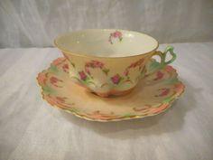 Vintage-Tea-Coffee-Cup-Saucer-M-Z-Austria-Pink-Roses-Gold-Moritz-Zdekauer