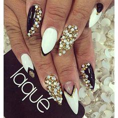 Almond white gold black nail art