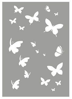 Little Butterflies Stencil 1 – Henny Donovan Motif Butterfly Stencil, Butterfly Template, Pink Butterfly, Butterfly Wall, Butterflies, Stencil Art, Stencil Designs, Craft Stencils, Plasma Cutter Art