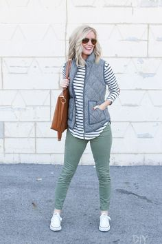 Autumn is here and we are ready to add a few staples to our wardrobes. Here are our favorite long-sleeved shirts to add to your closet this season. Love these olive green pants, striped shirt, and vest for the fall season.