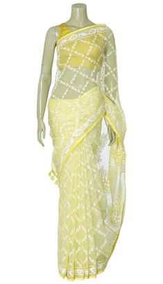 Yellow and White Embroidered Muslin Saree