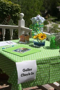 Exciting Great Golf Courses To Play Ideas. Amazing Great Golf Courses To Play Ideas. Golf Party Decorations, Golf Centerpieces, Table Decorations, 9th Birthday Parties, Birthday Ideas, 60th Birthday, Themed Parties, Golf Outing, Golf Day