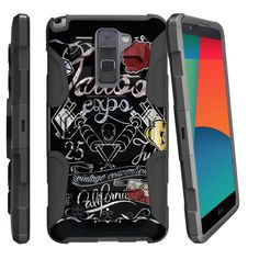 LG Stylus 2 Case ARMOR RELOADED, Heavy Duty Kickstand Holster Clip - Tattoo Expo