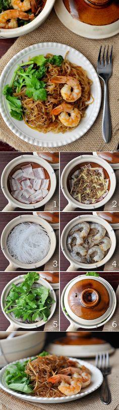 Thai Clay Pot with Shrimp and Bean Thread Noodles | Goong Ob Woonsen | กุ้งอบวุ้นเส้น | rachelcooksthai.com