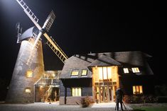 The Restoration Man - Reeds Windmill - The windmill when lit up at night The Restoration Man, Shed Of The Year, Old Windmills, Converted Barn, Roof Light, Malm, Beautiful Buildings, Building A House, Sweet Home