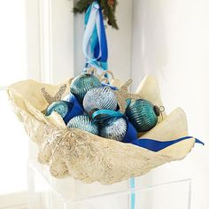 Wisteria - Holiday - Holiday Decor - Trim a Tree -  Classy & Glassy Ornaments - Sea Blue - Set of 6 - $24.00