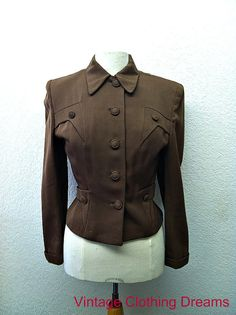 40s 1940s Jacket Coat Brown Ladies Womans 1940 Forties WW2 Wasp Waist Military