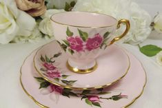Pretty , and in very good condition with no chips, crazing etc. The cup measures 11 x 7 cm , the saucer 14cm , the plate 18 cm .... Entitled Irene19