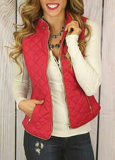 Fall in Love Puffer Vest II in Red