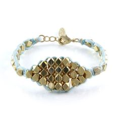 Cobra Canyon Gold Bracelet in Baby Blue - Ettika