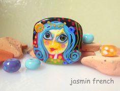 jasmin french ' country girl + bird ' lampwork focal beads glass art