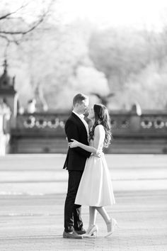 Black and White Engagement Photo in Central Park by Jessica Haley