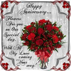 Send these flowers to your partner on your anniversary. Free online On Our Special Day ecards on Anniversary Happy Anniversary To My Husband, Marriage Anniversary Cake, Happy Anniversary Messages, Anniversary Wishes For Friends, Happy Aniversary, Happy Wedding Anniversary Wishes, Happy Anniversary Cakes, Anniversary Flowers, Anniversary Qoutes