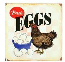 El Fresh Eggs gallina pollo apenada clásica elegante de Nice Home Decor cartel Retro ( 50 x 76 cm ) etiqueta de la pared envío gratis(China (Mainland))