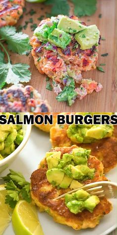 This tasty and easy Salmon Burgers are not to be missed! Ditch the bun and serve it with mouthwatering Avocado Salsa. Avocado Recipes, Burger Recipes, Fish Recipes, Baby Food Recipes, Seafood Recipes, Food Network Recipes, Appetizers For A Crowd, Seafood Appetizers, Fish Burger