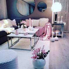 Living room setup grey pink and white colour scheme - - Wohnkultur Ideen - Wohnzimmer Living Room Setup, Living Room Decor Cozy, Living Room Grey, Home Living Room, Living Room Designs, Cozy Bedroom, Living Room Ideas For Apartments, Living Room Ideas Grey And White, Living Room Ideas Pink And Grey