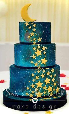 (By Sandra Monger Cake Design) Gorgeous Cakes, Pretty Cakes, Cute Cakes, Amazing Cakes, Gateau Iga, Rodjendanske Torte, Airbrush Cake, Decoration Patisserie, Galaxy Cake