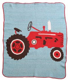 #manythings Recycled Cotton Tractor Junior #Throw #blanket. This Throw blanket is made from super soft 75% recycled cotton, 255 acrylic. Machine washable and drya...