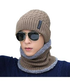 ce9be999529 Knit Warm Fleece Lined Skull Cap Beanie Hat Khaki With Neck Warmer  CZ12O8DXJDC