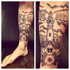 woodcut tattoo of a lighthouse