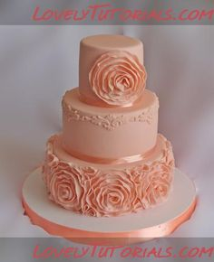 МК по розам-рюшам -Ruffle roses wedding cake tutorial - Мастер-классы по украшению тортов Cake Decorating Tutorials (How To's) Tortas Paso a Paso
